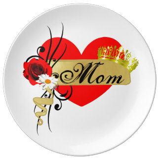 Mom Mothers Day Big Red Heart Rose Scroll Porcelain Plate