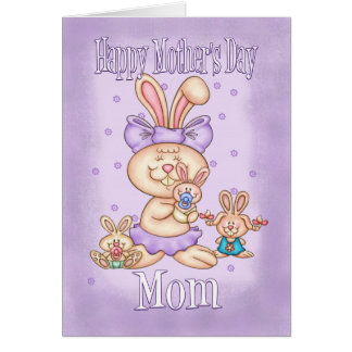 Mom Mother's Day Card - Cute Rabbit Mom With Her L