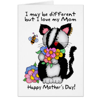 Mom Mother's Day Card - Punk/Rock/Emo Cat And Bee