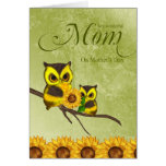 Mom Mother's Day Greeting Card With Owls And Sunfl