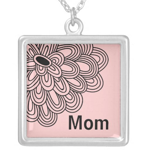 Mom Mother's Day Necklace Trendy Black Pink Flower