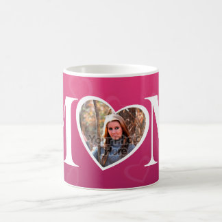 MOM Mother's Day Photo Pink Heart Frame Coffee Mug