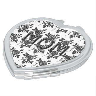 MOM_Mother's-Day-Rose-Toile(c)Gray-Heart Shape Compact Mirror