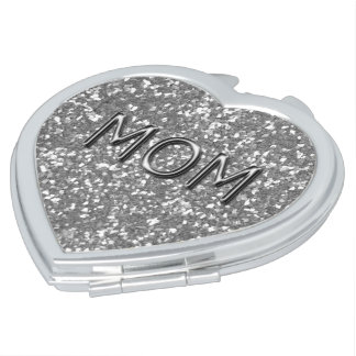 MOM_Mother's-Day-Silver-Glitter(c)Heart Shape Compact Mirror