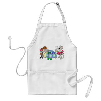Mom Mouse Caring for Sick Child Adult Apron