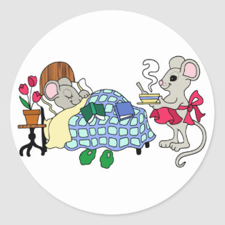 Mom Mouse Caring for Sick Child Round Sticker