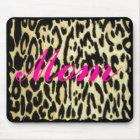 MOM- MOUSEPAD-HOT PINK ON LEOPARD PRINT MOUSE PAD