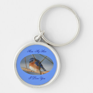 Mom My Hero I Love You Bluebird Keychain