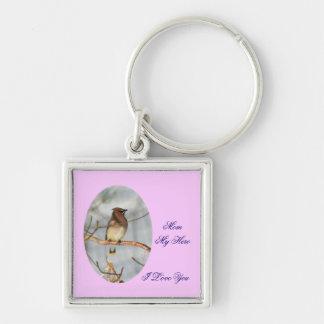 Mom My Hero I Love You Waxwing Bird Keychain