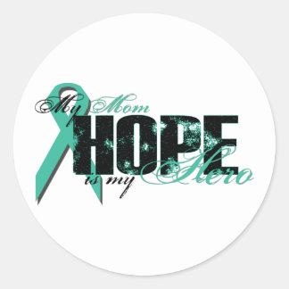 Mom My Hero - Ovarian Hope Classic Round Sticker
