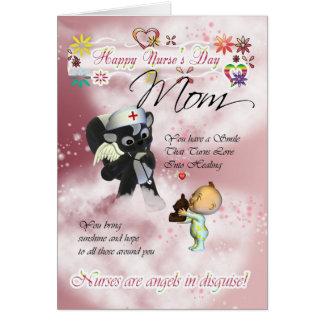 Mom Nurse's Day cute little baby and cute nurse sk Card