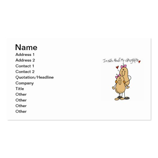 Mom - Nuts About My Daughter T-shirts and Gifts Business Card Templates