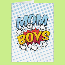 Mom of Boys Mother's Day Comic Book Style Card