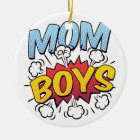 Mom of Boys Mother's Day Comic Book Style Ceramic Ornament
