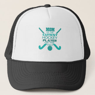 Mom Of The Cutest Hockey Player On The Field Trucker Hat