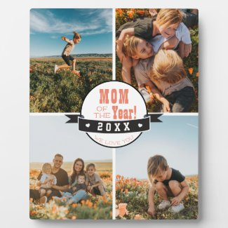 Mom of the Year Family Photo Collage Mothers Day Plaque
