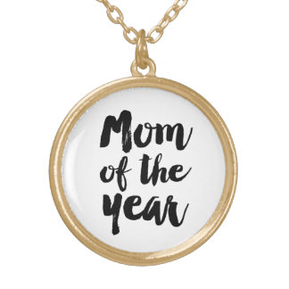 Mom of the year gold plated necklace