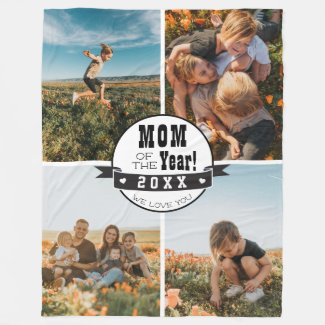 Mom of the Year Photo Collage Mothers Day Fleece Blanket
