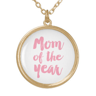 Mom of the year - pink gold plated necklace