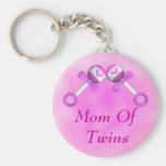 Mom Of Twin Girls Keychain