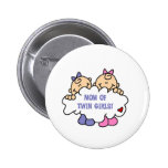 Mom of Twin Girls Pinback Button
