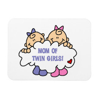 Mom of Twin Girls T-shirts and Gifts Rectangular Photo Magnet
