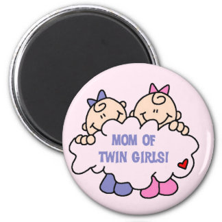 Mom of Twin Girls Tshirts and Gifts 2 Inch Round Magnet