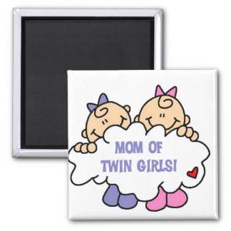 Mom of Twin Girls Tshirts and Gifts 2 Inch Square Magnet