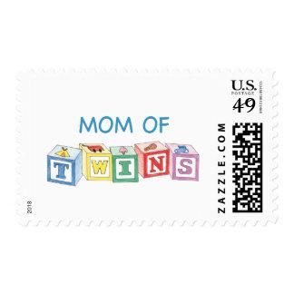 Mom of Twins Blocks Postage Stamp