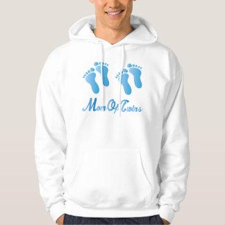 Mom Of Twins Blue Footprints Hooded Sweatshirt