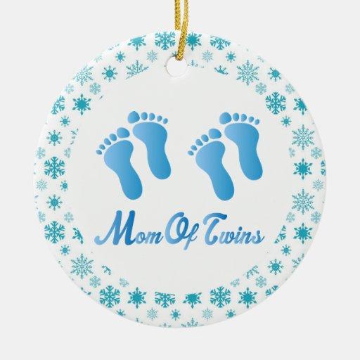 Mom Of Twins Blue Footprints Keepsake Gift Ornament