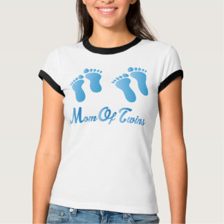 Mom Of Twins Blue Footprints Womens Ringer Tee