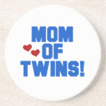 Mom of Twins Blue Text Gifts Coasters