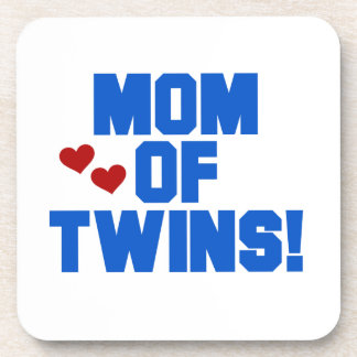 Mom of Twins Blue Text Gifts Beverage Coasters