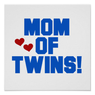 Mom of Twins Blue Text Gifts Print