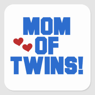 Mom of Twins Blue Text Gifts Square Sticker