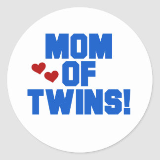 Mom of Twins-Blue Text Tshirts and Gifts Classic Round Sticker