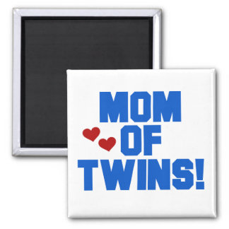 Mom of Twins-Blue Text Tshirts and Gifts 2 Inch Square Magnet