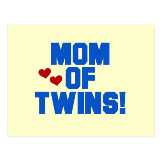 Mom of Twins-Blue Text Tshirts and Gifts Postcard