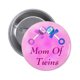 Mom of Twins Button (boy, girl)