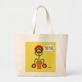 Mom of Twins Cartoon Flowers Cute Funny Gardener Large Tote Bag