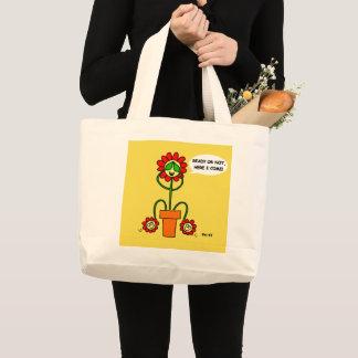 Mom of Twins Cartoon Flowers Cute Funny Gardeners Large Tote Bag