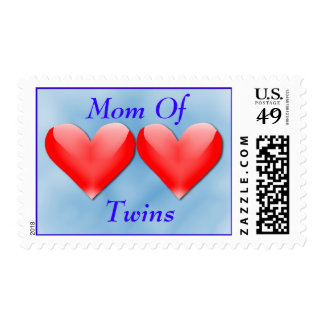 Mom Of Twins Double Hearts (blue) Postage
