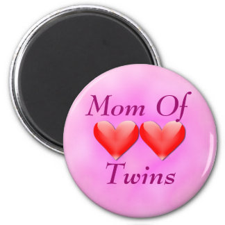 Mom Of Twins Double Hearts Magnet