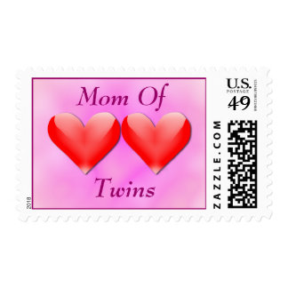 Mom Of Twins Double Hearts (pink) Postage Stamp