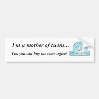 Mom of Twins Funny Bumper Sticker