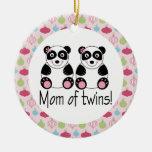 Mom Of Twins Panda Christmas Keepsake Ornament