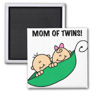 Mom of Twins-Peas in a Pod Tshirts and Gifts 2 Inch Square Magnet