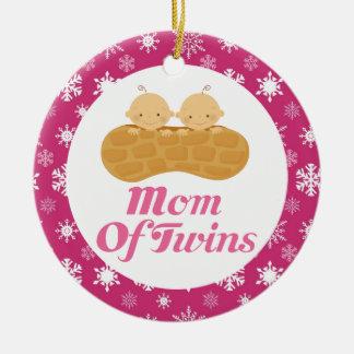 Mom Of Twins Pink Peanut Keepsake Ornament