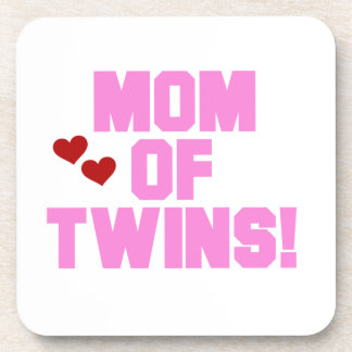 Mom of Twins Pink Text Gifts Coasters